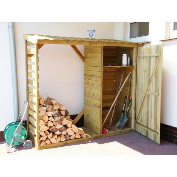 Drewutnia ogrodowa z szafką wys.190cm x gł.80cm x szer.206cm